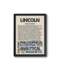 LINCOLN Personalized Name Print / Typography Print / Detailed Name Definitions / Numerology-calculated Destiny Traits / Educational