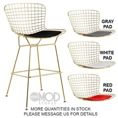 Wire Counter Stool with Seat Pad Wireback Modern Mid Century Mesh Bar Stool Gold Gold Bar Stools, Dining Stools, Counter Stools, Dining Room, Balcony Table And Chairs, Side Chairs, Desk Chairs, Chic Desk, Seat Pads