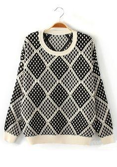 ++ blue geometric print round neck sweater