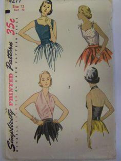 Vintage 1950s Simplicity 4277 Misses' HALTER, Blouse & CUMMERBUND Pattern  sz 12 bust 30 UNCUT by RaggsPatternStash on Etsy