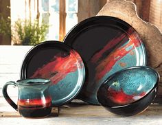 Midnight Sun Pottery Dinnerware - 4 pcs