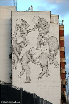 This piece by Blu in Madrid is as relevant as the day it was painted. For more info click on.