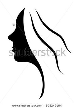 Beautiful silhouette of young woman, woman face icon - stock vector