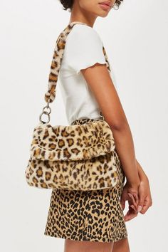f74b5e4b425 Leopard Print Teddy Faux Fur Shoulder Bag - Topshop Leopard Bag, Chloe Bag,  Bags