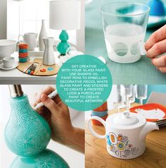 M A I E D A E: DIY Get Creative with glass paint.Use sharpy oil paint pens to embellish decorative pieces, white glass paint and stickers to create a frosted look & porcelain paint to create beautiful artwork on dishes and etc.