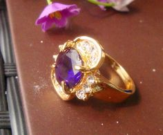 New fashion jewelry Gold plated cz ring purple stone A+++ shining