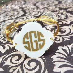 Engraved Monogrammed Bangle Quatrefoil on www.SassySouthernGals.com ~ Monogrammed Gifts & Accessories