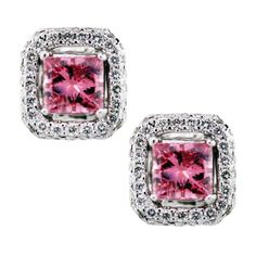 0.82Ct Pink Princess Cut Diamond Stud Earrings 18K White Gold