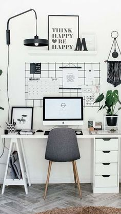 50 Home Office Ideas : Working from Your Home with Your Style Get Basic Engineering, Home Design & Home Decor. Home Office Ideas : Working from Your Home with Your StyleUnlike the old days, wher Study Room Decor, Room Ideas Bedroom, Living Room Decor, Bedroom Decor, Bed Room, Decor Room, Wall Decor, Bedroom Curtains, Bedroom Lighting