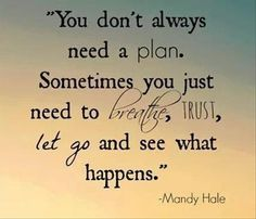You don't always need a plan. Sometimes you just need to breathe, trust, let go and see what happens