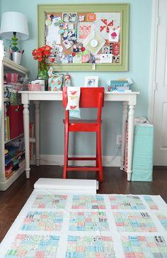 Aqua and Tangerine Sewing Studio ~ pinboard & cutting area