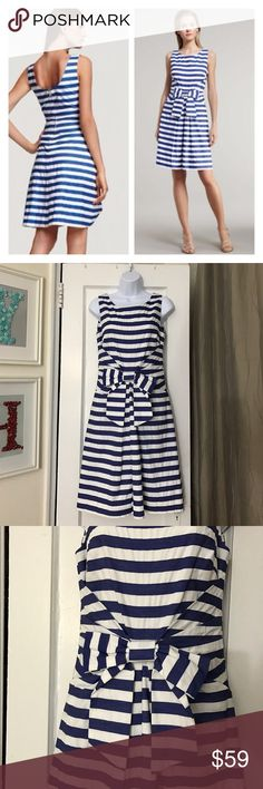 "Kate Spade Jillian Blue Striped Dress fits LIKE 4 No size tag. Fits like a 4, maybe small 6. I wear 8 and it does not zip on me😭. UA to UA 16.5"", waist 14.25"", length 38"". Has pockets. Good pre-owned condition. Offers are welcome. Jaunty stripes convey a carefree spirit on this kate spade new york dress. Play up the sailor vibe with gold jewelry and canvas wedges. Bateau neckline; scoop back. Sleeveless Pleated side panels gather at center waist with bow detail. Pleated A-line skirt. Hidden…"