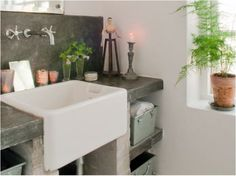 Concrete Countertops and Apron Front Sink, belfast sink zinc ...