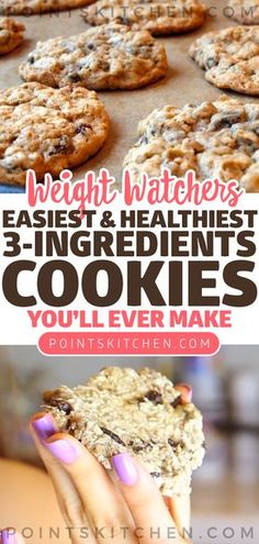Easiest (and Healthiest) 3-Ingredients Cookies You'll Ever Make #cookies #dessert #chocolate #weightwatchers #weight_watchers #lowcarb #slimmingworld #ketogenic