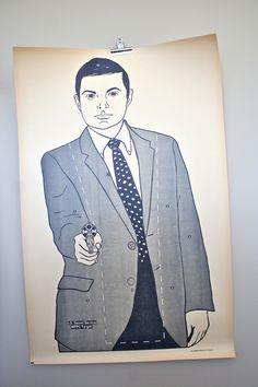 vintage paper shooting target: RARE large 1970's secret service target poster. $42.00, via Etsy.