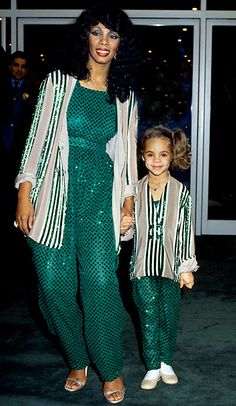 Donna Summer (RIP)  love this pic with her and her girl. Cute matching outfits♥