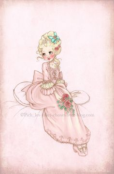 Little princess by ~Chpi on deviantART, perfect for Annika's Paris room, Clint to redo picture so it looks like Anni w/parasol