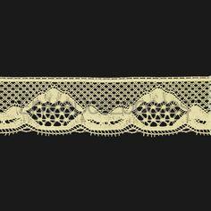 Puntilla de encaje de bolillos de algodón mercerizado de 3,8 cm. (Disponible en 2 colores)