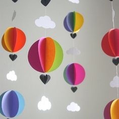 Colourful paper hot air balloon and cloud mobile
