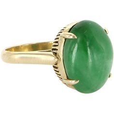 Pre-Owned Vintage Jadeite Jade Cocktail Ring 18k Yellow Gold ($695) ❤ liked on Polyvore