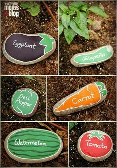 Easy garden markers .. a great activity to get the kids involved with…