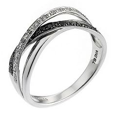 9ct White Gold White & Black Treated Diamond Ring