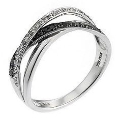 9ct White Gold White & Black Treated Diamond Ring