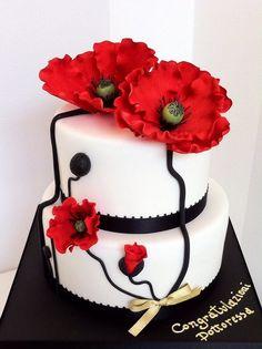 Poppy flowers cake - by BellasBakery @ CakesDecor.com - cake decorating website