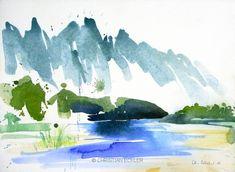 Karst mountains I, Laos, 2011 - Gouache Painting Watercolor Projects, Watercolor Images, Watercolor Sketch, Watercolor Techniques, Watercolor Landscape, Abstract Watercolor, Watercolor Illustration, Abstract Landscape, Landscape Paintings