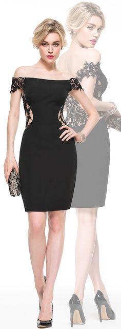 The lace back maked this sheath/off-the-shoulder satin dress ultra feminine. #JJsHouse