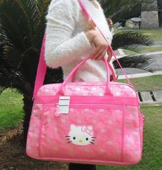 ad7a600e2c99 Large Hot Pink or Black Hello Kitty travel luggage duffle gym bag Hello  Hello