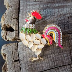French Chicken Rooster Brooch to add fun on any outfit  #craft365.com
