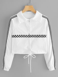 To find out about the Striped Tape Gingham Jacket at SHEIN, part of our latest Jackets ready to shop online today! Girls Fashion Clothes, Teen Fashion Outfits, Trendy Outfits, Girl Fashion, Girl Outfits, Clothes For Women, Teenage Outfits, Lace Jacket, Cute Jackets