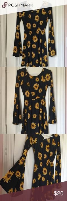 Black and yellow Sunflower long bell sleeve dress Black and yellow sunflower dress with bell sleeves Dresses