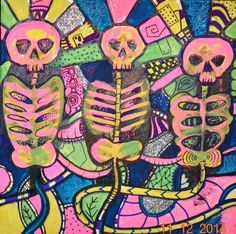 Original Bright Gothic Psychedelic Skeletons UV Art Gift, Modern Cyber Wall Art £200.00