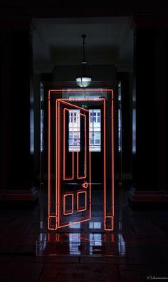 i-charmaine:  go on now go, walk out the door  (Gavin Turk's neon door installation at Somerset House, London)