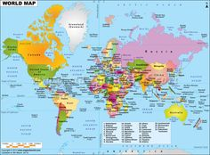 #World #Map displaying various islands, oceans, continents, #countries in the world.