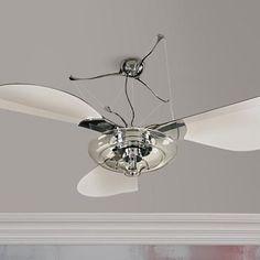 "58"" Quorum Jellyfish Chrome Ceiling Fan with Light Kit"