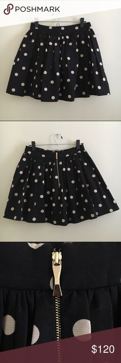 "Kate Spade Deco Dot Coreen Skirt Originally $298.00, this Kate Spade skirt is a cupcake fit. It is 17"" from waist to hem and is 77% cotton and 23% silk. Care is dry clean only. This item was only worn 3 times and dry cleaned once! kate spade Skirts Mini"