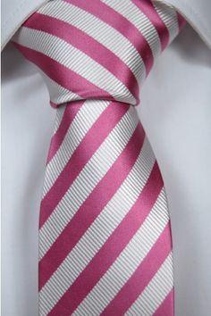 Solmio - Tieroom, Notch FELIX slim, stripes in pink & snow white