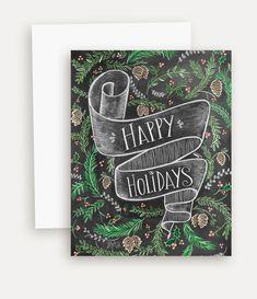 Happy Holidays Card - Woodland Christmas Card - Rustic Holiday card - Happy Holidays - Chalkboard Art - Chalk Art