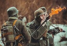 The flamethrower was extensively used during World War II. In the Wehrmacht first deployed man-portable… by German Soldiers Ww2, German Army, Luftwaffe, Paratrooper, Military Art, Military History, Ww2 Reenactment, Rock Poster, World History