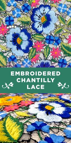 Colorful Floral Embroidered Chantilly Lace in Dark Navy