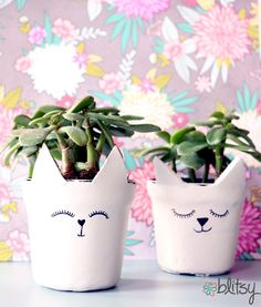 Turn a plastic pot into an adorable clay cat pot! #blitsy #DIY