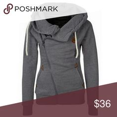 Comfy Gray Hoodie Zip Sweatshirt NWT in original packaging. Comfy gray hooded sweatshirt has zipper and button design. Thicker material, great for keeping warm. Fits comfortably one size smaller than tag size. Color is same as first photo. Awesome piece for fall and winter! 🌀ONE LEFT🌀 Tops Sweatshirts & Hoodies