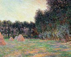 Prado con montones de heno cerca de Giverny