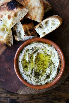 smoky eggplant dip with za'atar and Lahey Bread baked on a Baking Steel