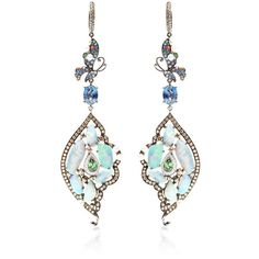 Wendy Yue One of a Kind Organic Multi Stone Chandelier Earrings (£11,375) ❤ liked on Polyvore featuring jewelry, earrings, chandelier earrings, multi stone earrings, 18k jewelry, 18k earrings and 18 karat gold earrings