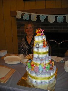 Baby shower diaper cake whinnie the pooh