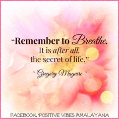 """""""Remember to #breathe. It is after all, the #secret of life.""""  Gregory Maguire"""